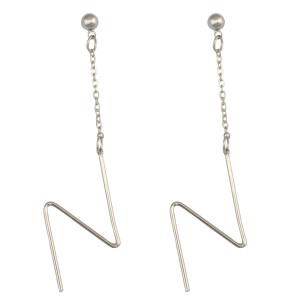 E-4026 Korean Simple Fashion Silver Plated Drop Earring N Letter Stud Earrings OL Style