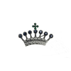 P-0321 Retro Silver Brooch Pins Carved Flower Crown Cross Crystal Rhinestone Brooches for Man