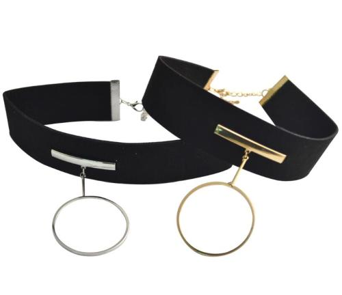 N-6730 Gothic Black Leather Silver Gold Plated Round Pendant Choker Necklace