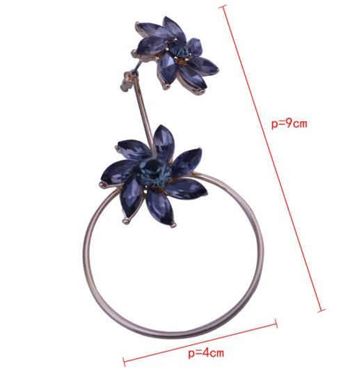 E-4028 Elegant Flower Shape Gold Plated Round Circle Drop Earrings Inlay Zircon Crystal Women Lady Jewelry