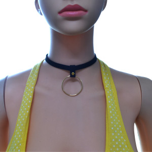 N-6729 Gothic Black Leather Gold Plated Round Pendant Choker Necklace