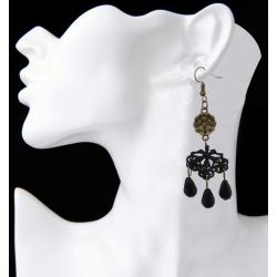 E-4029 Retro Vintage Long Drop Earrings For Women Resin Beads Lace Dangle Earring Fashion Party Jewelry