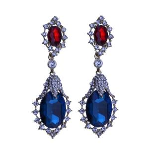 E-3284 trendy luxury royal blue crystal stone plant pendant earring rhinestone party long earrings fashion indian jewelry