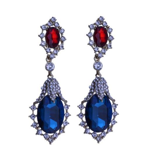 E-3284 trendy luxury royal blue crystal stone plant pendant earring rhinestone party long earrings fashion indian jewelry
