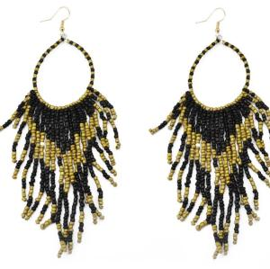 E-3565 Vintage boho gold plated bohemian beads long big statement earrings fashion jewelry