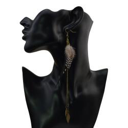 E-4031 Bohemian Brown Feather Tassel Drop Hook Earring Dangle Earrings for Women Jewelry