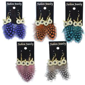 E-4034 New Fashion 5 Color Long Feather Owl Shape Fishhook Drop Dangle Earrings For Women Jewelry