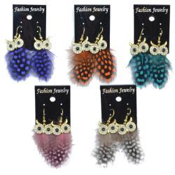 E-4034 New Fashion 5 Color Long Feather Owl Shape Fishhook Drop Dangle Earrings For Women Jewelry