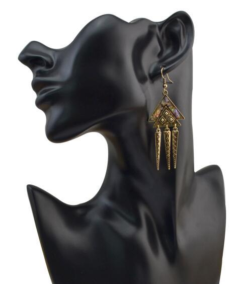 E-4030 Mother's Day Gift Jewelry Vintage Triangle Rhinestone Earrings Gold Silver Rivet Pendant Drop Earrings for Women Girl