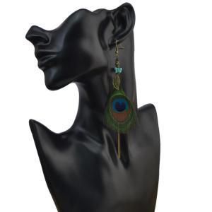 Fashion Vintage Bohemian Peacock Feather Rhinestone Tassel Dangle Long Earrings For Women Jewelry