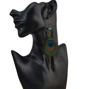 E-4036 Bohemian Retro Peacock Feather Tassel Long  Drop Dangle Earring for Women