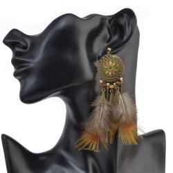 E-4043 Bohemian Brown Feather Tassel Drop Hook Earring Dangle Earrings for Women Jewelry