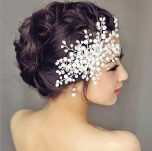 F-0392 Fashion Design Silver Plated Alloy Pearl Diamante Hairclip Hair Clips Hair Accessory Women Jewelry