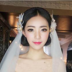 F-0395 2 Diffrent Color 1 Style Bride Hairband Bohemian Bronze Feather Pearl Flower for Women Jewelry