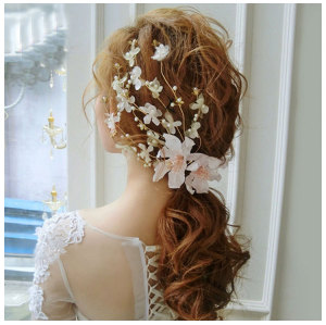 F-0393 Fashion Romantic Wedding Hair Accessories Lace Flowers Pearl Beads Alligator Hairpin Hair Clip For Women Girls Bridal