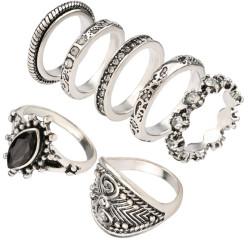R-1386 7Pcs/set Bohemian Turkish Retro Silver Gold Alloy Inlay Rhinestone Finger Nail Midi Rings For Women Jewelry