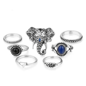R-1433 7pcs/set Bohemian Silver Golden Elephant Joint Knuckle Nail Midi Ring Inlay Crystal Rhinestone Finger Rings For Women Jewelry