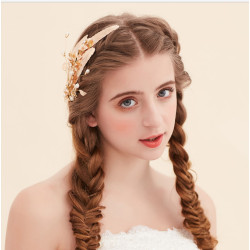 F-0398 Unique Design Fashion Gold Plated Alloy Leaf Shape Hairclip Hair Clips Hair Accessory For Women Jewelry