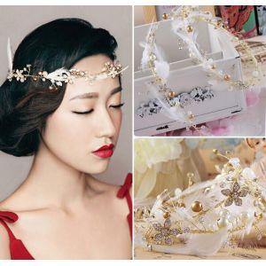 F-0399 Fashion Bohemian Charm Crystal Rhinestone Feather Pearl Copper Wire Hairband for Women Jewelry