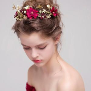 F-0396 Fashion Red Flower Gold Hairbands Wedding Tiara Pearl Headbands Bridal Hair Jewelry Accessories