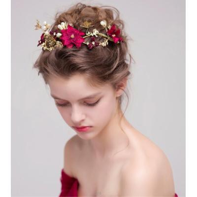 F-0396 Fashion Red Flower Gold Hairbands Wedding Tiara Pearl Headbands Bridal Hair Jewelry Accessories
