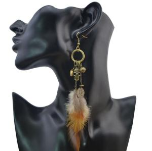 E-4044 3 Styles Women Brown Feather Drop Earring Skull Leaf Beads Long Dangle Earrings Bohemian Jewelry