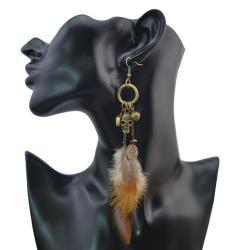 E-4044 3 Styles Women Brown Feather Drop Earring Skull Leaf Beads Long Dangle Earrings Bohemian Jewelry