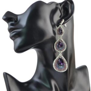 E-4052 5 Styles Bohemian Shiny Diamante Crystal Teardrop Pendant Dangle Long Earrings for Women Jewelry