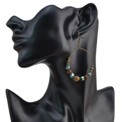 E-4048 Bohemian Fashion Bronze Round  Earrings  Dangle Drop Earring for Women Jeweley