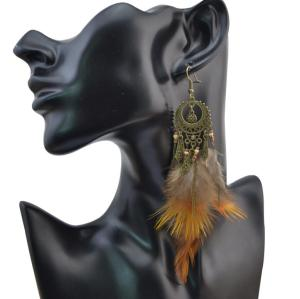 E-4056 Bohemian Jewelry  Brown Feather Beads Tassels Long Drop Dangle Earrings For Women