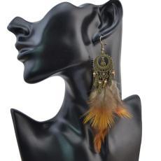 E-4056 Bohemian Jewelry  Brown Feather Beads Tassels Long Drop Dangle Earrings For Women