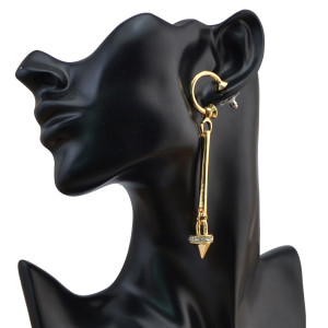 E-4055 New Arrival Fashion  Irregular  Silver/Gold plated Crystal  Long Dangle Ear Stud Earrings