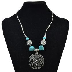 N-6738 Bohemian Antique Silver Flower Shape Pendant Necklace Fashion Turquoise Beads Necklaces Party Jewelry