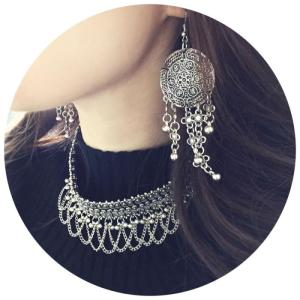 E-3800  Bohemian Vintage Silver Alloy Earring Long Big Drop Dangle Tassel Bell Fish Hook Earrings