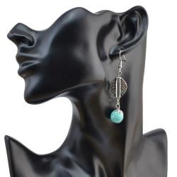 E-4053 Bohemian Silver Plated Drop Earrings Natural Turquoise  Hook Dangle Earring Women Jewelry