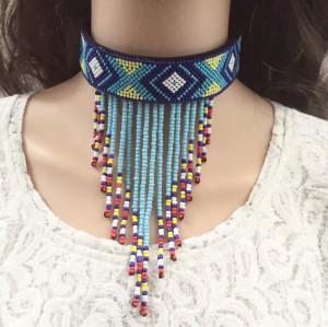 N-6739 Fashion Bohemian Choker Colorful Bead Tassel Necklace for Women Jewelry