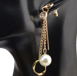 E-4054 New Fashion Korea Silver Gold Plated Faux Pearl Long Drop Earring For Women