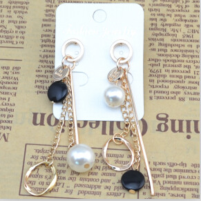 E-4054 New Fashion Korea Silver Gold Plated Faux Pearl Long Drop Earring For Women