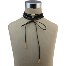 N-6743 3Pcs /Set New Fashion Triangle Shape Crystal Beads Leather Choker Necklace for Women Bohemian