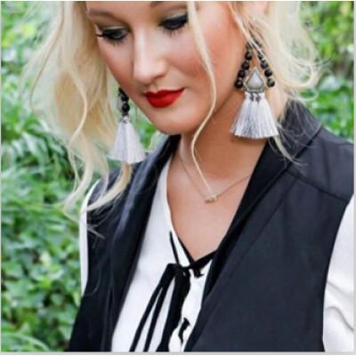 E-4058 New Fashion Bohemian Beads Tassel Crystal Long Drop Dangle Earring For Women