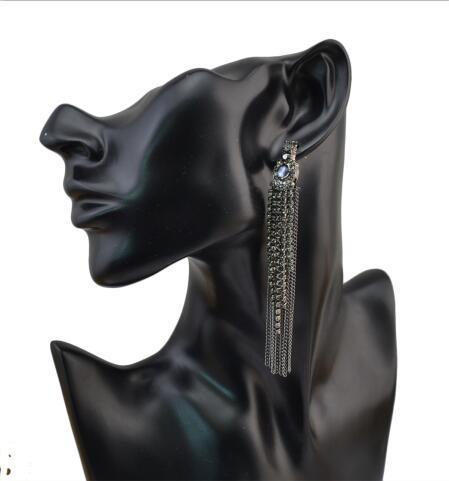 E-4061 2 Colors Fashion Women Jewelry Drop Dangle Ear Diamante Dangle Tassel Pendant Charm Earring