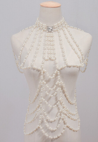 N-6745 * Women Beach Silver White Imitation Pearls Beads Belly Chains Sexy Body Chains Party Jewelry