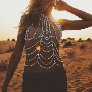 N-6745 Women Beach Silver White Imitation Pearls Beads Belly Chains Sexy Body Chains Party Jewelry