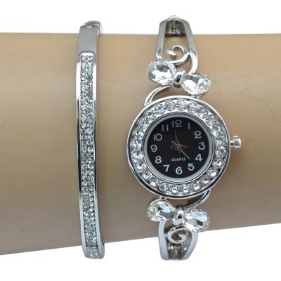 B-0845 European Watches Bangle Crystal Rhinestone Bracelet Quartz Watch Casual Wristwatch for Women & Man Jewelry
