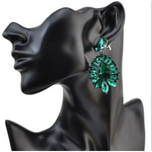 E-4062  5 Colors Luxury Drop Earring Inlay Crystal Rhinestone Dangle Long Earrings For Women Jewelry