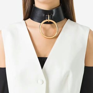 N-6760 New Arriva Gothic Leather Gold Plated Round Pendant Choker Necklace For Women