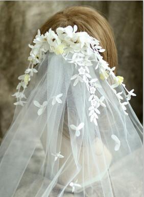 F-0401 Bridal Handmade Lace Veil Hair Clip Crystal Pearl Flower Wedding Veil Hair Accessories