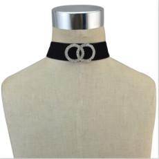 N-6756 Gothic Jewelry Women Velvet Double Round Crystal Choker Necklace Adjustable Boho Short Necklaces