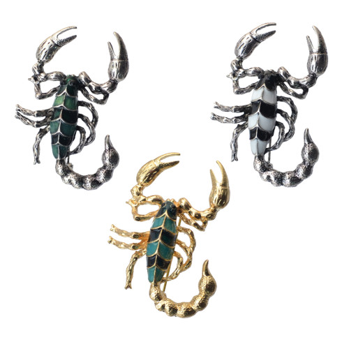 P-0370 New Fashion Vintage Silver Gold Plated Metal Crystal Scorpion Brooch Pin Jewelry