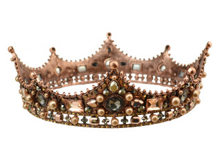 F-0402 Vintage Luxurious Handmade Shiny Hair Clip Crystal Pearl King Queen Crown Accessories